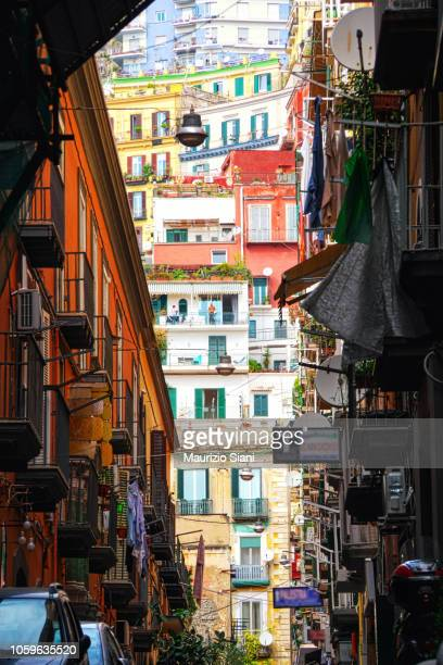 naples colorful buildings and appartments. cityscape and urbanisation. - naples italy stock pictures, royalty-free photos & images