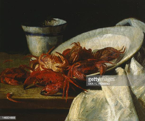 Naples Galleria Dell'Accademia Di Belle Arti Still life with crustaceans by Francesco Paolo Palizzi