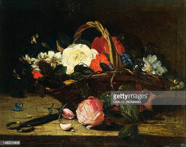 Naples Galleria Dell'Accademia Di Belle Arti Still life with flowers by Francesco Paolo Palizzi oil on canvas