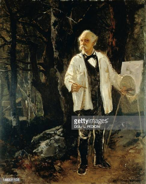 Naples Museo Nazionale Di Capodimonte Selfportrait in the forest of Fontainebleau by Giuseppe Palizzi oil on canvas 76x61 cm
