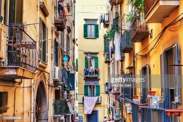 naples, old buildings in city - napoli stock pictures, royalty-free photos & images