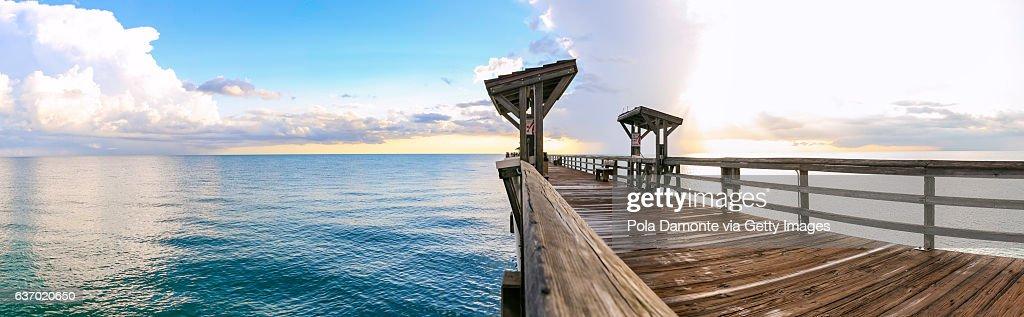 Naples Pier and calm ocean, Florida : Stock Photo