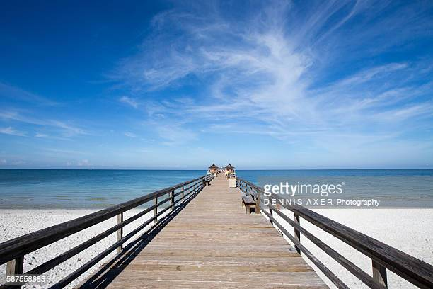 naples pier ultra wide angle - naples florida stock pictures, royalty-free photos & images