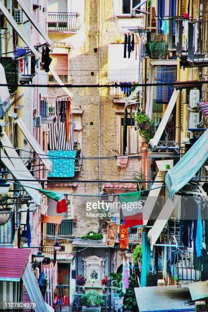 naples, quartieri spagnoli; low angle view of buildings - napoli fotografías e imágenes de stock