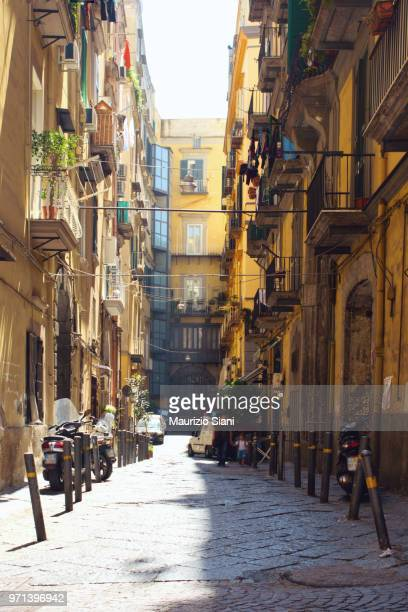 naples, spanish quarter (quartieri spagnoli), an old narrow alley - naples italy stock pictures, royalty-free photos & images