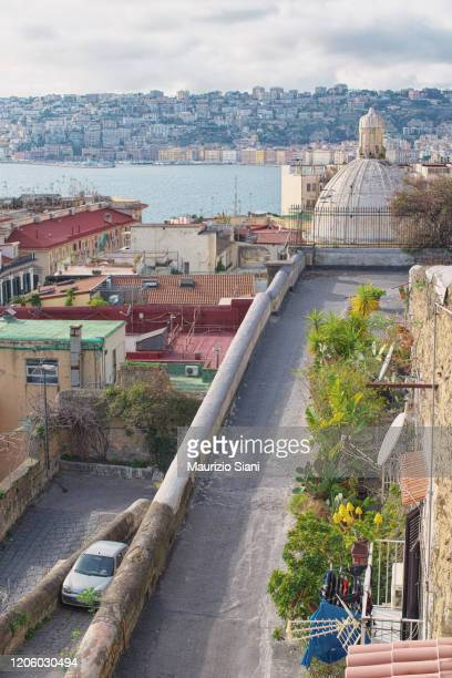 naples, urban landscape from pizzofalcone street - napoli stock pictures, royalty-free photos & images