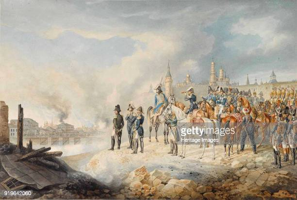 Napoleon and his staff on a hill before the burning Moscow 18121814 Private Collection