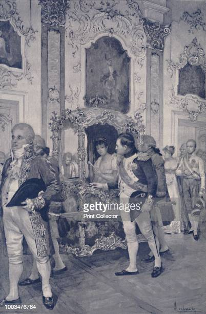 Napoleon and the Empress of Austria at Dresden' Napoleon Bonaparte and his second wife Marie Louise in Dresden Germany Engraving after the aquarelle...