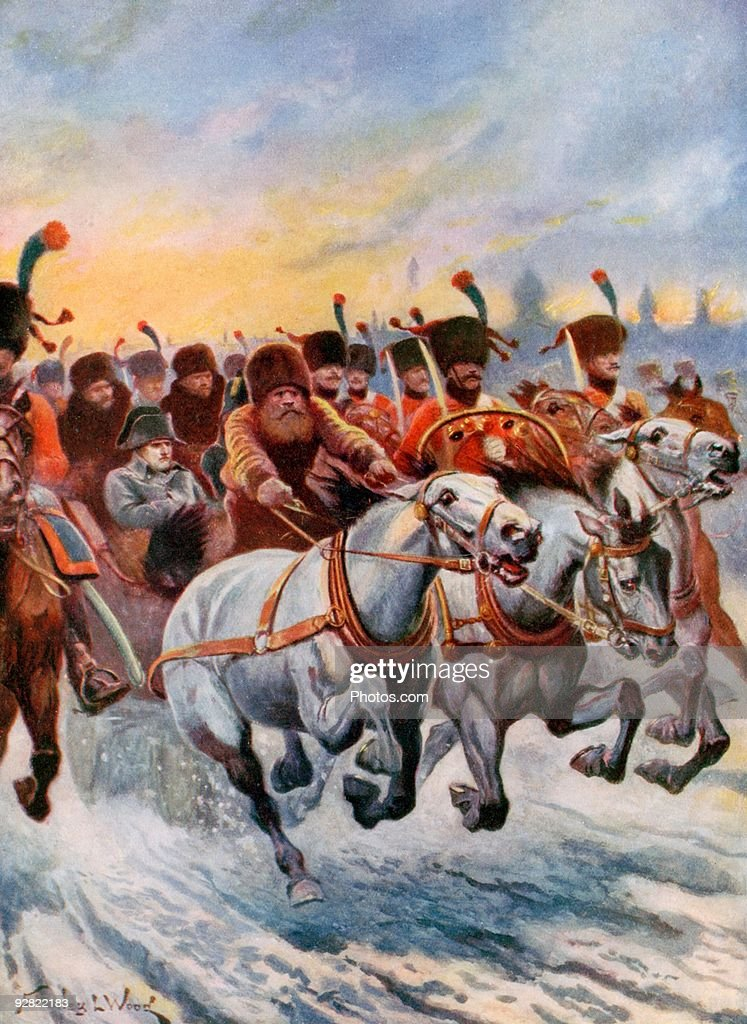 Napoleon and troops retreating from Moscow : Stock Photo