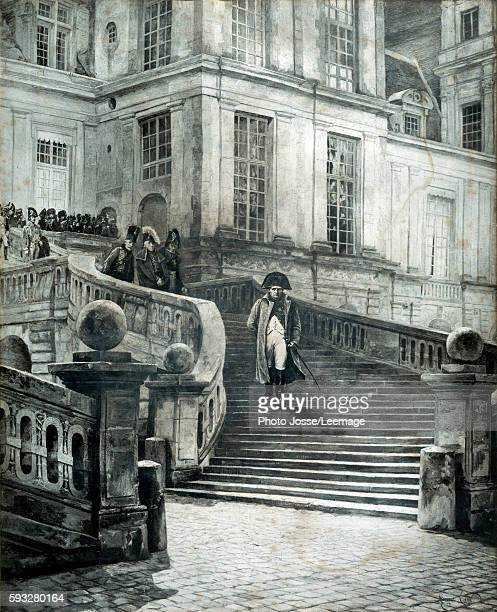 Napoleon at Fontainebleau after the abdication 4 April 1814 Engraving by Georges Jules Auguste Cain 1814 050 x 075m Castle museum of Malmaison...