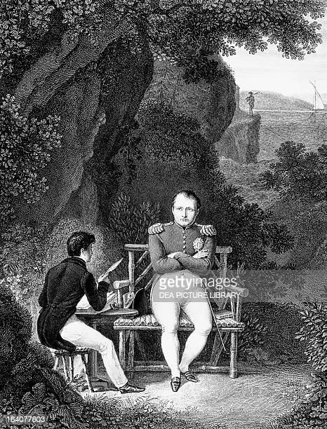 Napoleon at St Helena dictating his memoirs to the French historian Emmanuel de Las Cases engraving France 19th century Paris Hôtel Carnavalet