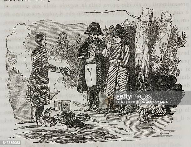 Napoleon Bonaparte accompanied by General Corbineaum tasting a boiled potato in a camp along the banks of the Sambre River illustration from the...