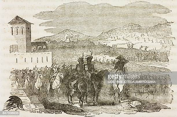 Napoleon Bonaparte and his army near Verona First Italian Campaign Napoleonic Wars illustration from the first Italian edition of The Memorial of...