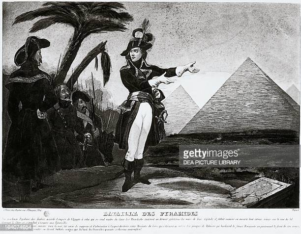 Napoleon Bonaparte and his soldiers admiring the pyramids Battle of the Pyramids engraving Napoleonic Wars 18th century