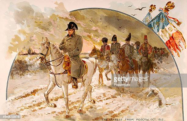 Napoleon Bonaparte and his troops retreating from Moscow circa October 1812 An illustration from The Napoleon Album published by Allen Ginter...