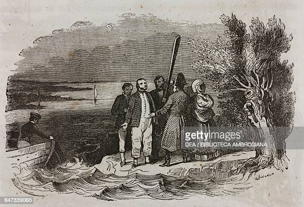 Napoleon Bonaparte and Marie Louise back from Holland asking the captive British sailors to help them cross the Meuse River in a boat illustration...