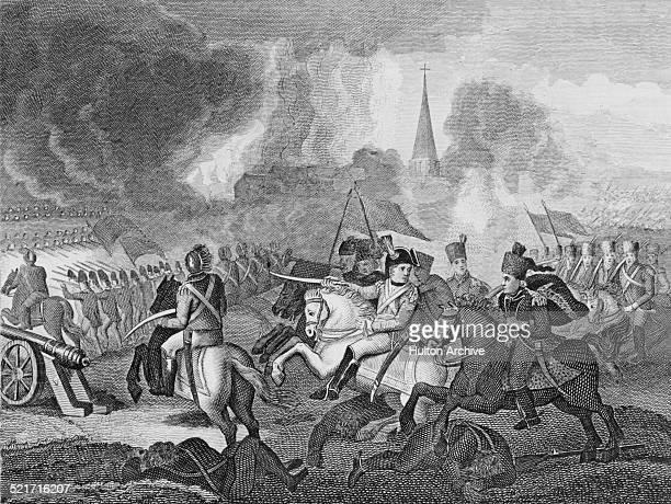Napoleon Bonaparte and the French Army of the Republic defeats the Austrian Hapsburg Army under Feldmarschallleutnant Peter Karl Ott von Batorkez at...
