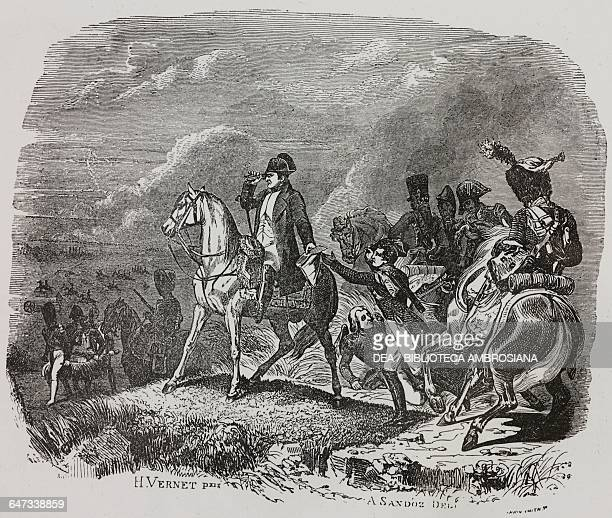 Napoleon Bonaparte at the Battle of Wagram 6 July 1809 by Auguste Sandoz line drawing painting by Horace Vernet the first Italian edition of The...