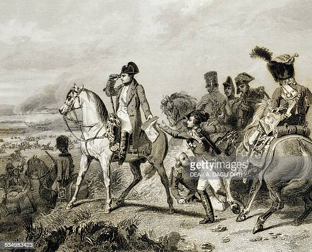 Napoleon Bonaparte at the Battle of Wagram, July 5-6 engraving based on a painting by Horace Vernet . Napoleonic Wars, 19th century. Bologna, Museo...