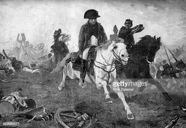 Napoleon Bonaparte at the end of the battle of Waterloo 18th June 1815 Napoleon French soldier and emperor fleeing from the battlefield of Waterloo...