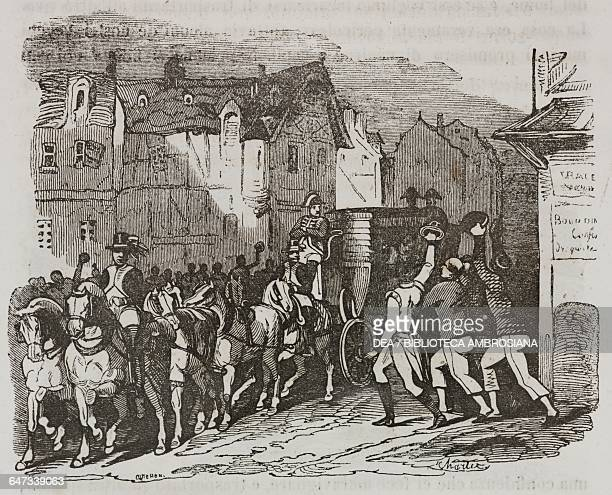 Napoleon Bonaparte crossing into Verdun being cheered on by the crowd and some British prisoners, illustration from the first Italian edition of The...
