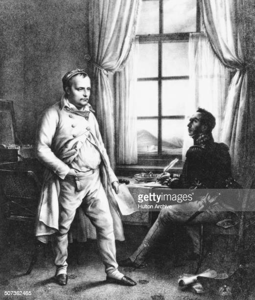 Napoleon Bonaparte dictates his memoirs to General Baron Gourgand whilst in exile on the island of Saint Helena in the Atlantic Ocean on 1 June 1818...