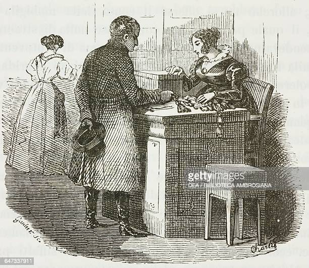 Napoleon Bonaparte enquiring about the price of curtain rope in a shop in Rue Saint-Denis in Paris, illustration from the first Italian edition of...
