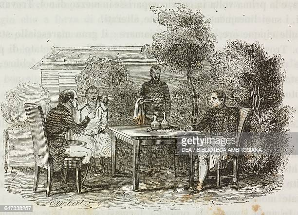 Napoleon Bonaparte having breakfast with Mr Balcombe and an official of the East India Company in China St Helena Island 5 May 1816 illustration from...