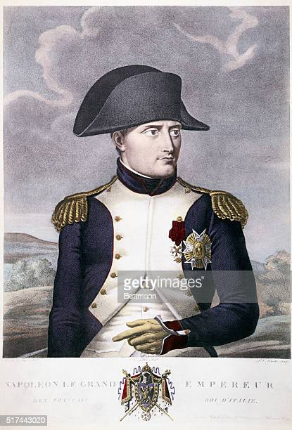 Napoleon Bonaparte. Head and shoulders portrait in typical posture, ca. 1808. Colored engraving.