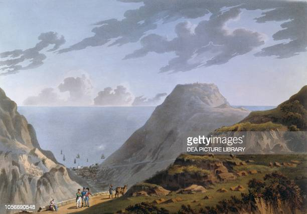 Napoleon Bonaparte in St Helena, with Jamestown in the background, illustration, 19th century.