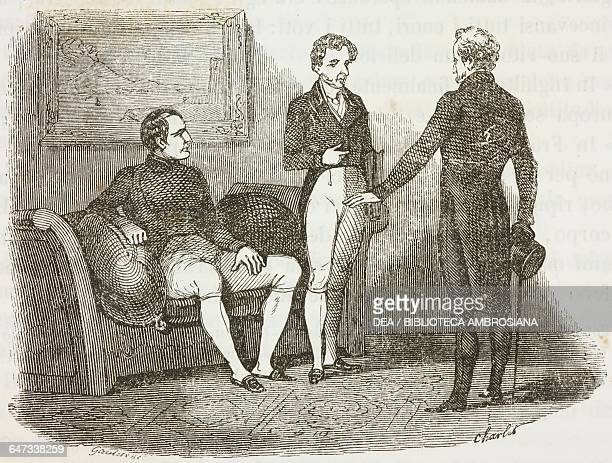 Napoleon Bonaparte Las Cases and Dr O'Meara St Helena Island 6 May 1816 illustration from the first Italian edition of The Memorial of Saint Helena...