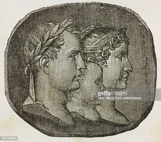 Napoleon Bonaparte Napoleon's son Francesco and his wife Marie Louise of Austria illustration from the title page of the first Italian edition of The...