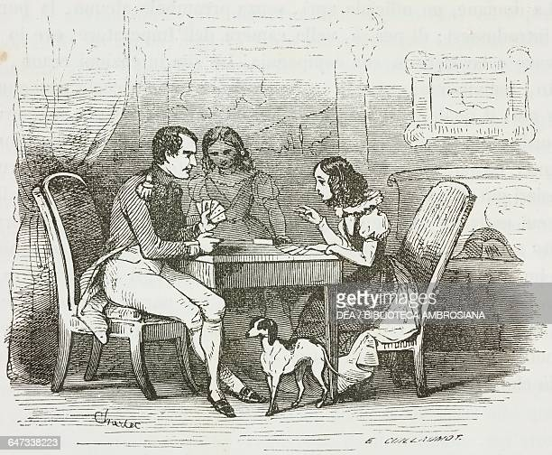 Napoleon Bonaparte playing a game of whist with his neighbour's daughters on St Helena, illustration from the first Italian edition of The Memorial...