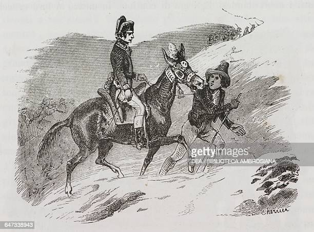 Napoleon Bonaparte riding on the back of a mule to the Great St Bernard Pass, accompanied by a young mountaineer, May 1800, illustration from the...
