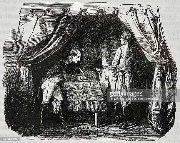 Napoleon Bonaparte signing the truce with the Austrian Army following the Battle of Wagram, 10 July 1809, illustration from the first Italian edition...