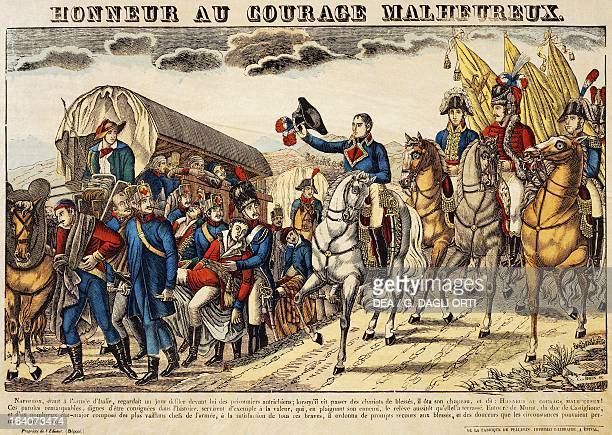 Napoleon Bonaparte surrounded by Murat the Duke of Castiglione and his Staff greeting wounded prisoners from the Austrian army during the Italian...