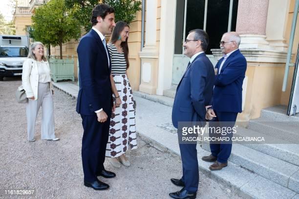 Napoleon Bonaparte's descendant Prince Jean Christophe Napoleon and his fiancee Comtesse Olympia von ArcoZinneberg are welcome by President of the...