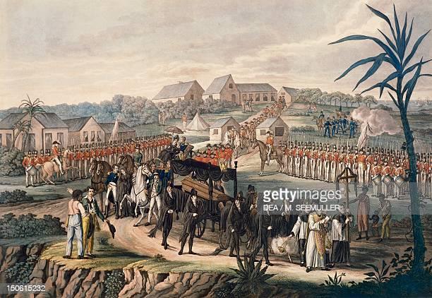 Napoleon Bonaparte's funeral on St Helena island May 5 engraving Restoration 19th century