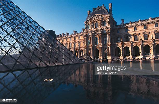 Napoleon courtyard at the Louvre with the Pyramid in the foreground architect Ieoh Ming Pe Paris IledeFrance France