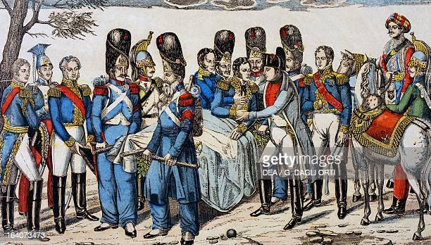Napoleon I at Marshal Geraud Christophe Michel Duroc's head as he is dying May 22 popular print by JeanCharles Pellerin Epinal Napoleonic wars...
