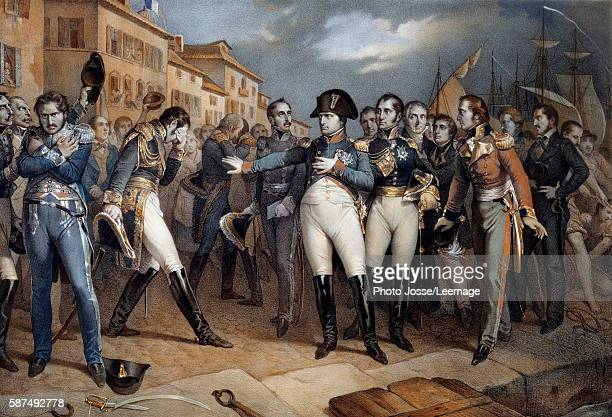 Napoleon I submitting to the British law and surrendering 14 July 1815 Napoleon Bonaparte boarding the British ship Bellerophon that will take him to...