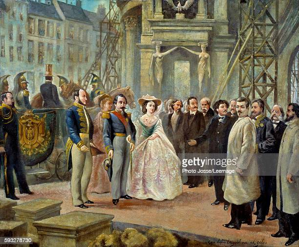 Napoleon III and Empress Eugenie visiting the construction site of the Opera Garnier in Paris. To the left of Napoleon III, the Baron Georges...