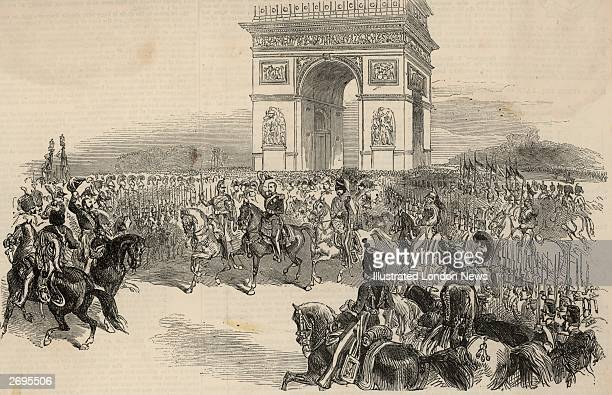 Napoleon III is greeted at the Arc de Triomphe by the army on his triumphal entry into Paris after assuming the title of Emperor in a coup d'etat He...