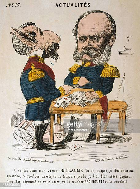 Napoleon III of France and Wilhelm I of Prussia FrancoPrussian War 18701871 Cartoon from Actualites From a private collection