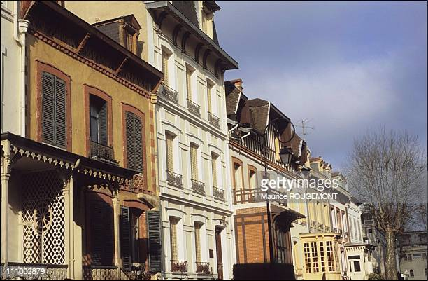 Napoleon III's chalets of Helvetian or colonial style situated by the park bordering the Allier lake in Vichy France in 2004