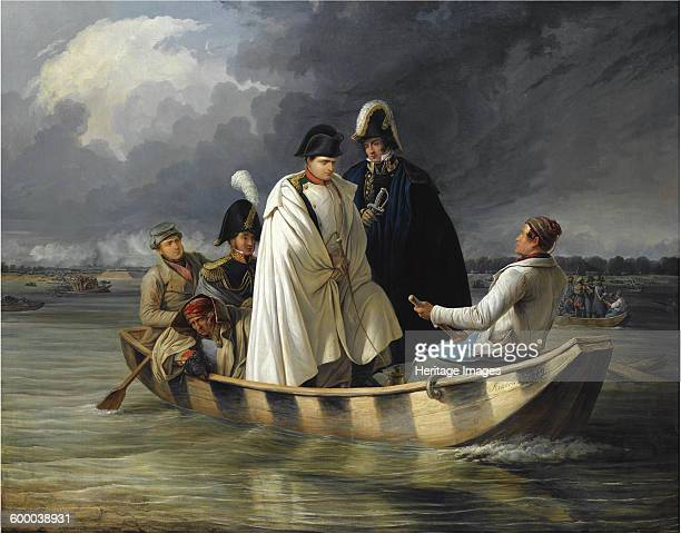 Napoleon leaving the Lobau after the defeat at the battle of Aspern 1845 Private Collection Artist Perger Anton Ritter von