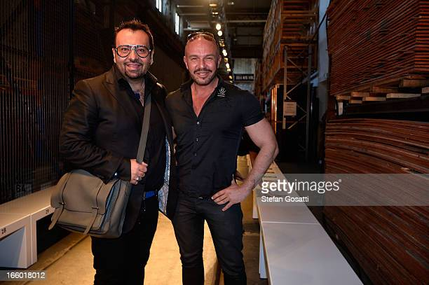 Napoleon Perdis and Designer Alex Perry pose backstage ahead of the Alex Perry show during MercedesBenz Fashion Week Australia Spring/Summer 2013/14...