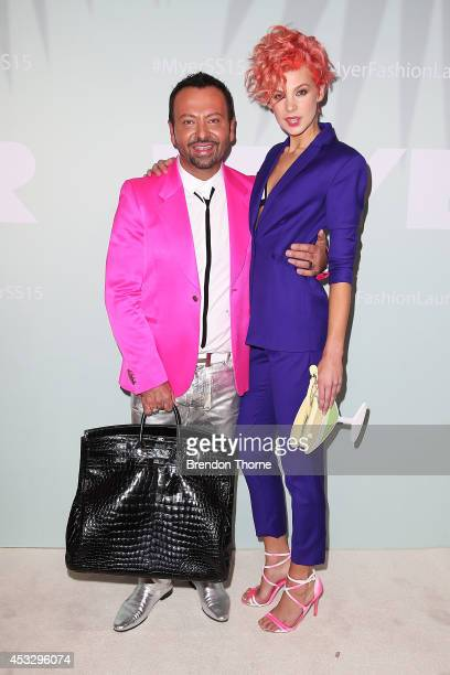 Napoleon Perdis and Kate Peck arrive at the Myer Spring Summer 2014 Fashion Launch at Carriageworks on August 7 2014 in Sydney Australia