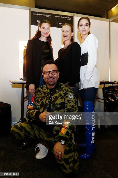 Napoleon Perdis and models backstage ahead of the Christopher Esber show at MercedesBenz Fashion Week Resort 18 Collections at The Clothing Store on...