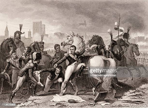 Napoleon wounded in the attack on Ratisbon April 1809 Napoleon Bonaparte 17691821 Emperor of the French Drawn by Gautherot engraved by AThom